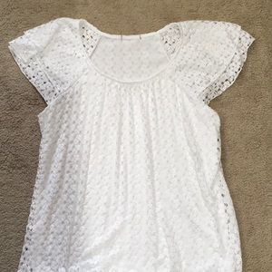 Tops - White lace lined top